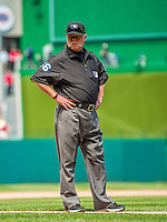 26 April 2014: MLB Umpire and Crew Chief Jim Joyce works at third base during a game between the San Diego Padres and the Washington Nationals at Nationals Park in Washington, DC. The Nationals defeated the Padres 4-0 to take the third game of their 4-game series. Mandatory Credit: Ed Wolfstein Photo *** RAW (NEF) Image File Available ***