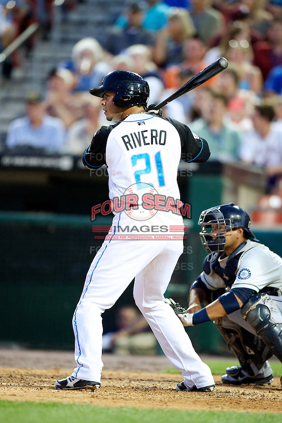 Syracuse Chiefs infielder Carlos Rivero #21 during the Triple-A All-Star game featuring the Pacific Coast League and International League top players at Coca-Cola Field on July 11, 2012 in Buffalo, New York.  PCL defeated the IL 3-0.  (Mike Janes/Four Seam Images)