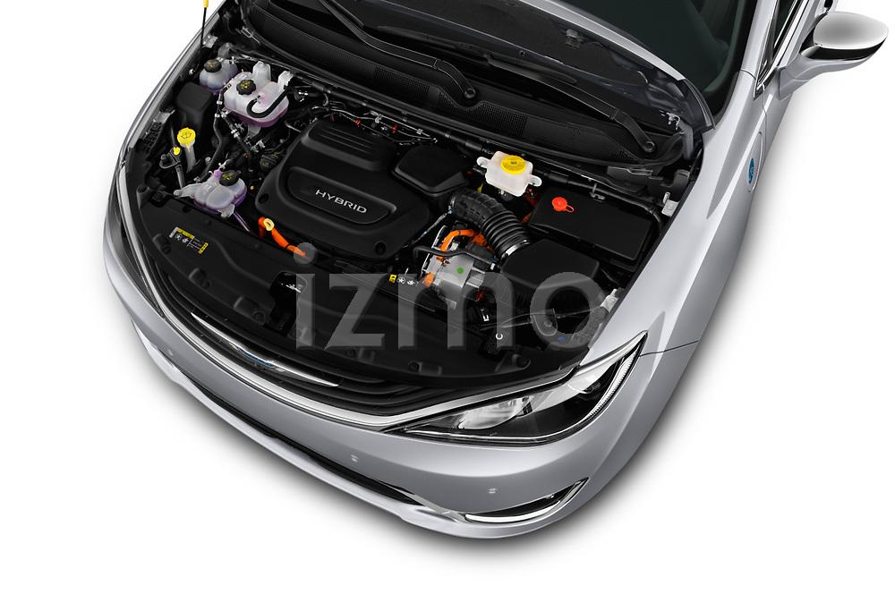 Car Stock 2017 Chrysler Pacifica-Hybrid Platinum 5 Door Minivan Engine  high angle detail view