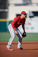 Fort Myers Miracle third baseman Andrew Bechtold (5) during a Florida State League game against the Lakeland Flying Tigers on August 3, 2019 at Publix Field at Joker Marchant Stadium in Lakeland, Florida.  Lakeland defeated Fort Myers 4-3.  (Mike Janes/Four Seam Images)