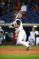 Louisville Cardinals left fielder Josh Stowers (25) at bat during a game against the Maryland Terrapins on February 18, 2017 at Spectrum Field in Clearwater, Florida.  Louisville defeated Maryland 10-7.  (Mike Janes/Four Seam Images)