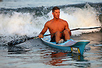 Matt Nunnally of Bradley Beach wins the 1,000-Meter Surfski event at the First Annual Asbury Park Beach Bar Lifeguard Competition held at the 3rd Avenue beach in Asbury Park.  Nunnally was the top overall point scorer (31 points) for the competition. ASBURY PARK, NJ  8/4/07  8:21:47 PM  PHOTO BY ANDREW MILLS