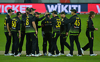 Australia celebrates running out Glenn Phillips during the 4th international men's T20 cricket match between the New Zealand Black Caps and Australia at Sky Stadium in Wellington, New Zealand on Friday, 5 March 2021. Photo: Dave Lintott / lintottphoto.co.nz