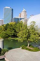 Oklahoma City, Oklahoma, USA.  Myriad Botanical Gardens, downtown OKC in Background.