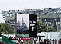 4th October 2020; Twickenham Stoop, London, England; Gallagher Premiership Rugby, London Irish versus Bristol Bears; Scoreboard displaying police officer and rugby fan Matiu Ratana who was tragically killed in Croydon. Twickenham Stadium is in the background