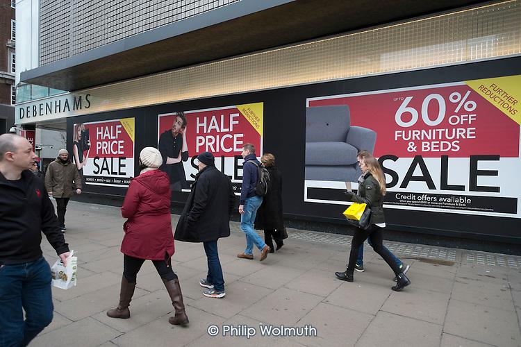 Debenhams, January sales, Oxford Street, London.