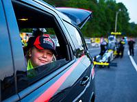 May 4, 2018; Commerce, GA, USA; Crew member for NHRA top fuel driver Leah Pritchett during qualifying for the Southern Nationals at Atlanta Dragway. Mandatory Credit: Mark J. Rebilas-USA TODAY Sports