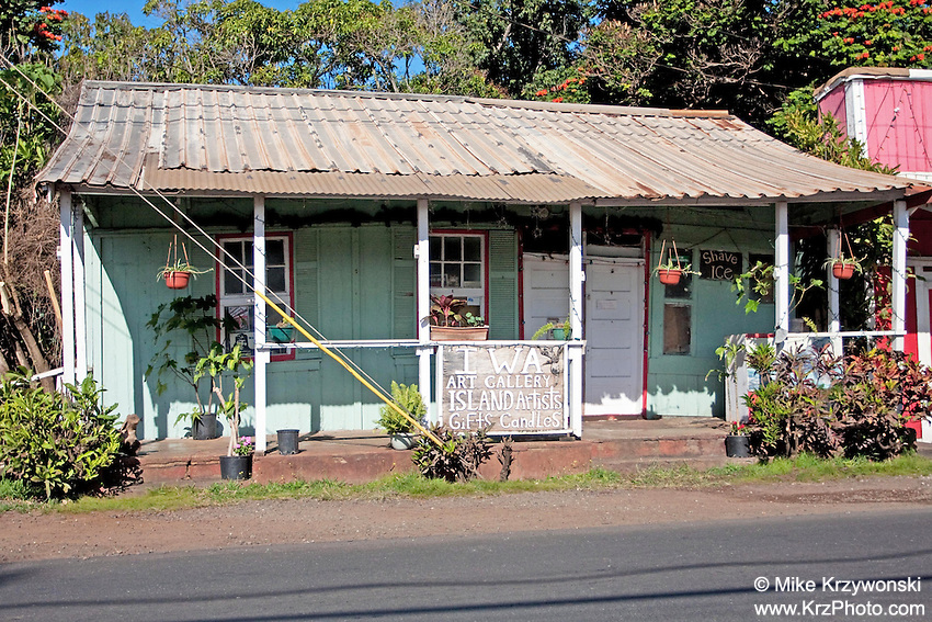 Old Iwa Art Gallery Building (now demolished) in Haleiwa, Oahu, Hawaii
