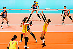 Xia Ding of China (C) serves the ball during the match between China and Japan on May 30, 2018 in Hong Kong, Hong Kong. (Photo by Power Sport Images/Getty Images)