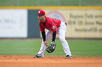 Birmingham Barons second baseman Joey DeMichele (27) on defense against the Tennessee Smokies at Regions Field on May 4, 2015 in Birmingham, Alabama.  The Barons defeated the Smokies 4-3 in 13 innings. (Brian Westerholt/Four Seam Images)