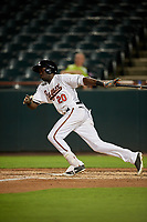 Bowie Baysox center fielder Anderson Feliz (20) follows through on a swing during the second game of a doubleheader against the Trenton Thunder on June 13, 2018 at Prince George's Stadium in Bowie, Maryland.  Bowie defeated Trenton 10-1.  (Mike Janes/Four Seam Images)