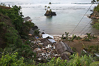 The Seabreeze resort at Aufaga in the Aleipata tourist district, which was completely destroyed by the tsunami. Guests at the resort were able to scramble up the steep drive to higher ground, while the owner Wendy Booth said she and her husband hung on to a railing and survived. More than 170 people died when a tsunami triggered by an 8.3 magnitude earthquake hit Samoa and neighbouring Pacific islands on 29/09/2009. Samoa (formerly known as Western Samoa)..