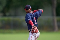 FCL Red Sox second baseman Antoni Flores (2) throws to first base during a game against the FCL Twins on July 3, 2021 at CenturyLink Sports Complex in Fort Myers, Florida.  (Mike Janes/Four Seam Images)