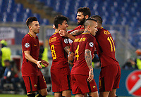Roma s Diego Perotti, second from left, celebrates with his teammates after scoring during the Champions League Group C soccer match between Roma and Chelsea at Rome's Olympic stadium, October 31, 2017.<br /> UPDATE IMAGES PRESS/Riccardo De Luca