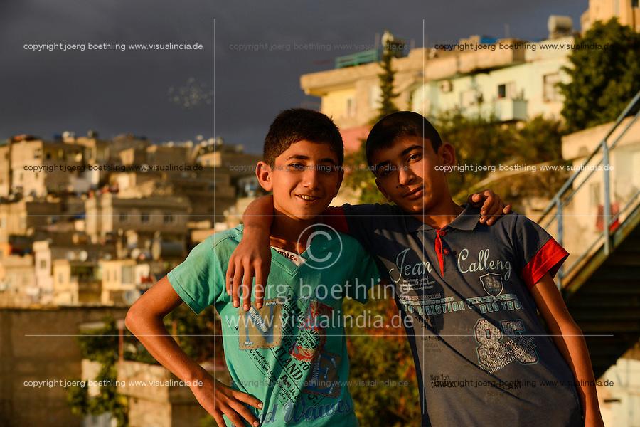 TURKEY Birecik at Euphrates river, two kurdish boys / TUERKEI Birecik am Fluss Euphrat, zwei kurdische Jungen