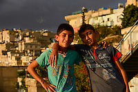 TURKEY Birecik at Euphrates river, two kurdish boys / TUERKEI Birecik am Fluss Euphrat, zwei kurdische Jungen