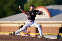 Batavia Muckdogs relief pitcher Evan Estes (33) delivers a pitch during a game against the State College Spikes on July 9, 2018 at Dwyer Stadium in Batavia, New York.  State College defeated Batavia 3-0.  (Mike Janes/Four Seam Images)