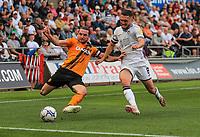 11th September 2021; Swansea.com Stadium, Swansea, Wales; EFL Championship football, Swansea versus Hull City; Lewie Coyle of Hull City and Matt Grimes of Swansea City jostle for possession