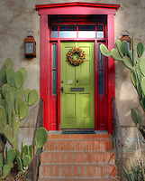 """El Barrio"" neighborhood in Tucson, Arizona with row after row of charming and colorful adobe houses built in the 1800's - since restored. Holiday SW<br />