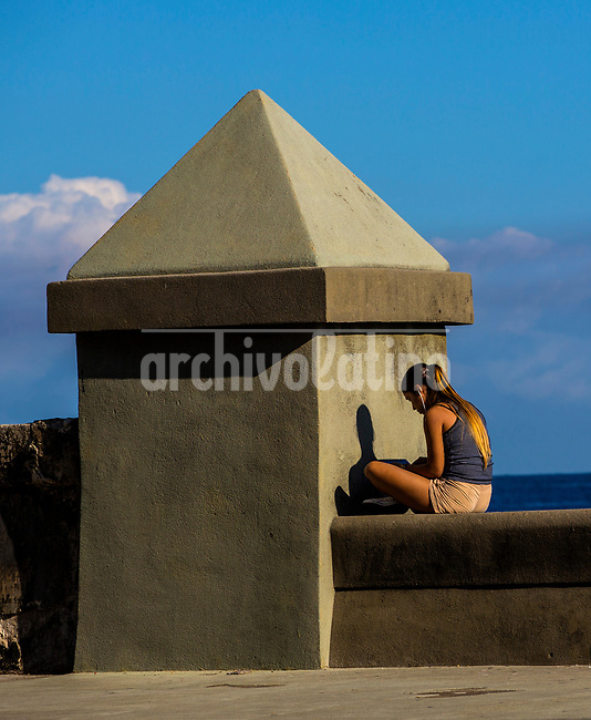 Online on the Malecon in Havana, Cuba, Tuesday, March 28, 2017.