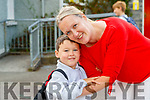 Dara Prendergast, joining Junior Infants at Scoil Nuachabháil, Ballymacelligott, on Wednesday morning last,  pictured with his mom Hazel.