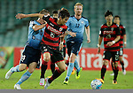SYDNEY - APRIL 05:  Jae Won Lee of Pohang Steelers is challenged by Brandon O'Neill of Sydney FC during the AFC Champions League group H match between Sydney FC and Pohang Steelers on 05 April 2016 held at Sydney Football Stadium in Sydney, Australia. Photo by Mark Metcalfe / Power Sport Images   *** Local Caption *** Jae Won Lee;Brandon O'Neill