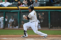 Efren Navarro (16) of the Salt Lake Bees at bat against the Reno Aces at Smith's Ballpark on May 5, 2014 in Salt Lake City, Utah.  (Stephen Smith/Four Seam Images)