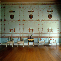 The Etruscan Dressing Room at Osterley Park was papered and painted by Robert Adam's decorative artist Pietro Mario Borgnis and features Etruscan motifs