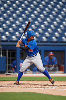 GCL Mets center fielder Raul Beracierta (95) at bat during the first game of a doubleheader against the GCL Nationals on July 22, 2017 at The Ballpark of the Palm Beaches in Palm Beach, Florida.  GCL Mets defeated the GCL Nationals 1-0 in a seven inning game that originally started on July 17th.  (Mike Janes/Four Seam Images)
