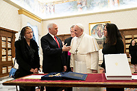 Vice President Pence and Mrs. Pence Meet with Pope Francis<br /> <br /> Vice President Mike Pence and Mrs. Karen Pence meet one on one with Pope Francis Friday, Jan. 24, 2020, in the Papal Library at the Vatican. (Official White House Photo by D. Myles Cullen)