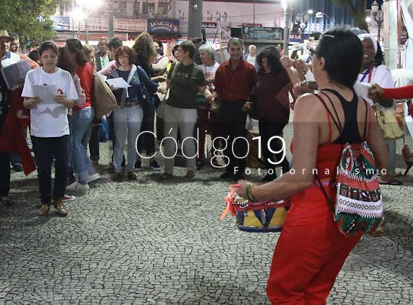 CAMPINAS, SP 10.04.2019 - ATO LULA LIVRE - Ato Lula Livre, realizado na noite desta quarta-feira (10) no Largo do Rosario no centro da cidade de Campinas (SP).<br /> (Foto: Denny Cesare/Codigo19)