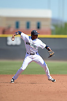 Seattle Mariners infielder Erick Mejia (22) during an Instructional League game against the Milwaukee Brewers on October 4, 2014 at Peoria Stadium Training Complex in Peoria, Arizona.  (Mike Janes/Four Seam Images)