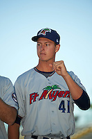 Fort Myers Miracle starting pitcher Stephen Gonsalves (41) during introductions before a game against the Bradenton Marauders on April 9, 2016 at McKechnie Field in Bradenton, Florida.  Fort Myers defeated Bradenton 5-1.  (Mike Janes/Four Seam Images)
