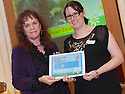 """Litter Strategy Awards 2013 : Michelle McCallum (left) presents the award """"For Volunteer Excellence 2012""""."""