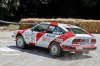 Xander Heijen driving his 1983 2.5 litre V6 Alfa Romeo GTV6  on the Forest Rally stage during the Goodwood Festival of Speed 2016 at Goodwood, Chichester, England on 24 June 2016. Photo by David Horn / PRiME Media Images