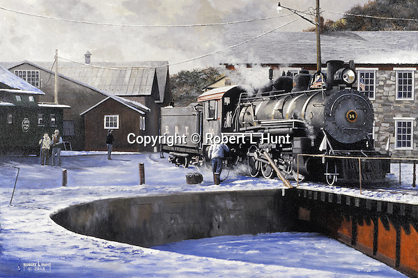 """At the end of the workday, the fireman empties the ashes from a 1910 Baldwin steam locomotive before going onto the East Broad Top Railroad turntable and into the roundhouse for the night at Orbisonia, PA. Oil on canvas, 18"""" x 27""""."""