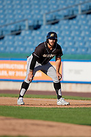 Charlotte Knights Daniel Palka (7) leads off during an International League game against the Syracuse Mets on June 11, 2019 at NBT Bank Stadium in Syracuse, New York.  Syracuse defeated Charlotte 15-8.  (Mike Janes/Four Seam Images)