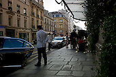 Paris, France<br /> August 12, 2011<br /> <br /> Streets of Paris in mid-August. Le Bristol Hotel neat the Élyseé Palace.
