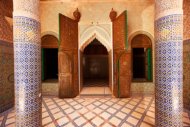 Berber  Mocarabe Honeycomb work plaster and Zellige decorative tiles of the inner courtyard of  the Kashah of Telouet, Morocco