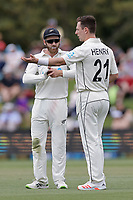 Kane Williamson and Matt Henry during day one of the second International Test Cricket match between the New Zealand Black Caps and Pakistan at Hagley Oval in Christchurch, New Zealand on Sunday, 3 January 2021. Photo: Martin Hunter / lintottphoto.co.nz