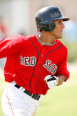 July 14, 2009:  Center Fielder Reymond Fuentes (3) of the GCL Red Sox runs to first base during a game at the Boston Red Sox Training Complex in Fort Myers, FL.  Fuentes was taken by the Red Sox in the first (1st) round of the 2009 MLB draft.  The GCL Red Sox are the Gulf Coast Rookie League affiliate of the Boston Red Sox.  Photo By Mike Janes/Four Seam Images