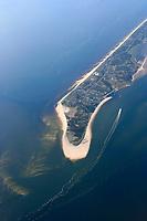 Sylt:EUROPA, DEUTSCHLAND, SCHLESWIG- HOLSTEIN 20.06.2005: Suedspitze Sylt (dänisch Sild, friesisch Söl) mit dem Ort Hoernum.  Die Hoernum Odde ist der natuerliche Schutz für den Ort. Durch die starken Stuerme auch in diesem Jahr,  ist die Suedspitze von Sylt stark geschwaecht und bietet kaum noch Schutz. Fuer den  den Küstenschutz auf der Nordseeinsel Sylt stehen 2005 etwa fünf Millionen Euro zur Verfuegung.  Zu den Sandvorspuelungen sind aber ausserdem Dünenbefestigung bei List und Kampen notwendig. <br />Luftaufnahme, Luftbild,  Luftansicht