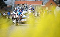 Laurens De Vreese (BEL), Sander Helven (BEL) & Julien Duval (FRA) riding the cobbles of the Oude Kwaremont as the leaders in the race<br /> <br /> 3 Days of West-Flanders <br /> stage 1: Brugge - Harelbeke 183km