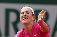 30th September 2020, Roland Garros, Paris, France; French Open tennis, Roland Garr2020; Victoria Azarenka of Belarus reacts during for womens singles second round match against Anna Karolina Schmiedlova of Slovakia at French Open