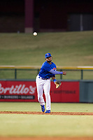 AZL Cubs shortstop Delvin Zinn (21) warms up between innings during a game against the AZL Athletics on August 9, 2017 at Sloan Park in Mesa, Arizona. AZL Athletics defeated the AZL Cubs 7-2. (Zachary Lucy/Four Seam Images)