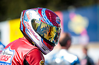 Sep 15, 2019; Mohnton, PA, USA; NHRA pro stock motorcycle rider Hector Arana Sr during the Reading Nationals at Maple Grove Raceway. Mandatory Credit: Mark J. Rebilas-USA TODAY Sports