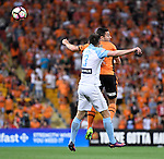 BRISBANE, AUSTRALIA - OCTOBER 30: Tommy Oar of the Roar and Josh Rose of Melbourne head the ball during the round 5 Hyundai A-League match between the Brisbane Roar and Melbourne City at Suncorp Stadium on November 4, 2016 in Brisbane, Australia. (Photo by Patrick Kearney/Brisbane Roar)