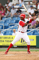 July 4th 2008:  First baseman Jeremy Hamilton (7) of the Williamsport Crosscutters, Class-A affiliate of the Philadelphia Phillies, during a game at Bowman Field in Williamsport, PA.  Photo by:  Mike Janes/Four Seam Images