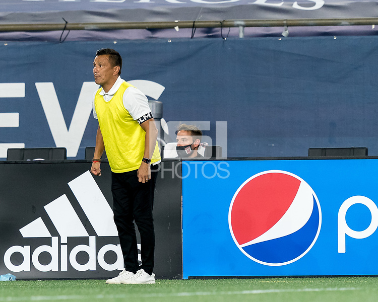 FOXBOROUGH, MA - SEPTEMBER 09: Chattanooga Red Wolves SC Jimmy Obleda reacts to game play during a game between Chattanooga Red Wolves SC and New England Revolution II at Gillette Stadium on September 09, 2020 in Foxborough, Massachusetts.