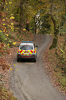 Pictured: A fire service vehicle at the entrance to the track leading to the house that burned in Llangammarch Wells, Powys, Wales, UK. Tuesday 31 October 2017<br /> Re: Investigations continue into a house fire in which a father and several of his children have died.<br /> Three children aged 13, 12 and 10 escaped the farmhouse in Llangammarch Wells, Powys, in the early hours of Monday and raised the alarm.<br /> Police said they could not identify the deceased or confirm numbers.<br /> One of those missing has been named locally as David Cuthbertson.